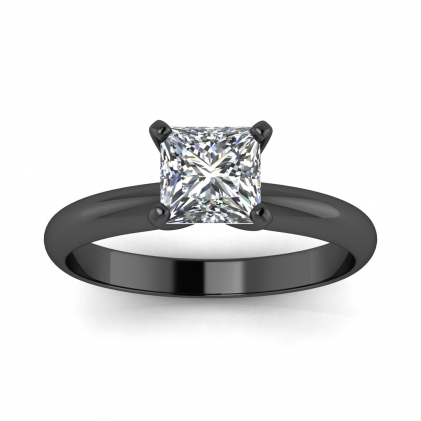 14k Black Gold Bella Princess Cut Diamond Solitaire Ring