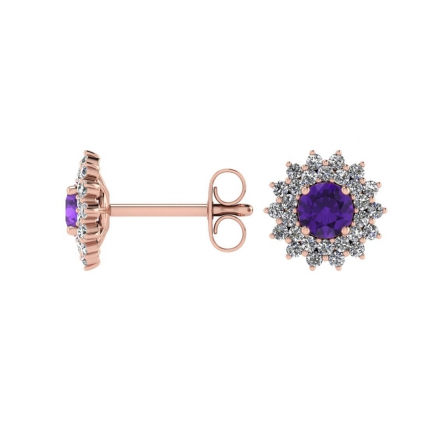 14k Rose Gold Amethyst and Diamond Star Halo Earrings (1/2 CT. TW.)
