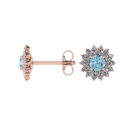 14k Rose Gold Aquamarine and Diamond Star Halo Earrings (1/2 CT. TW.)