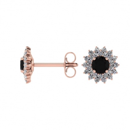 14k Rose Gold Black and White Diamond Star Halo Earrings (1/2 CT. TW.)