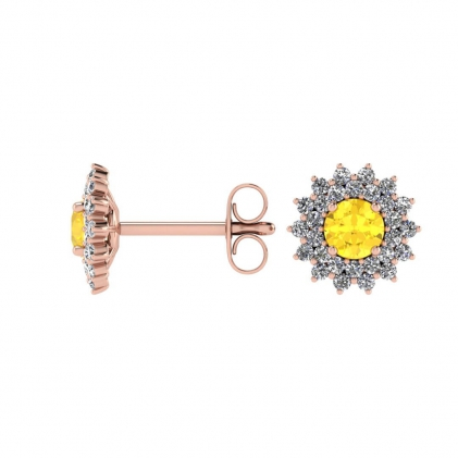 14k Rose Gold Citrine and Diamond Star Halo Earrings (1/2 CT. TW.)