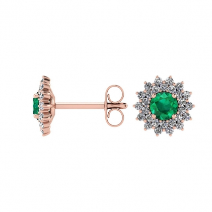14k Rose Gold Emerald and Diamond Star Halo Earrings (1/2 CT. TW.)