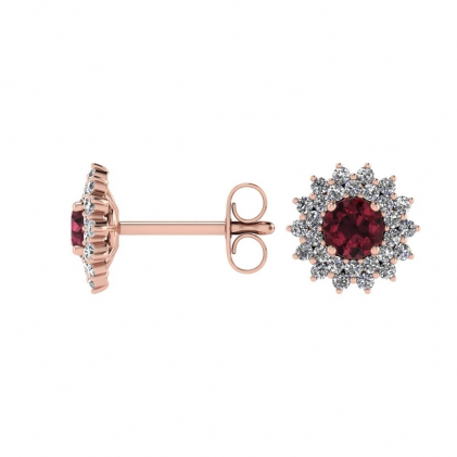 14k Rose Gold Garnet and Diamond Star Halo Earrings (1/2 CT. TW.)