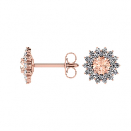 14k Rose Gold Morganite and Diamond Star Halo Earrings (1/2 CT. TW.)