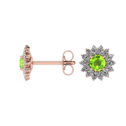 14k Rose Gold Peridot and Diamond Star Halo Earrings (1/2 CT. TW.)