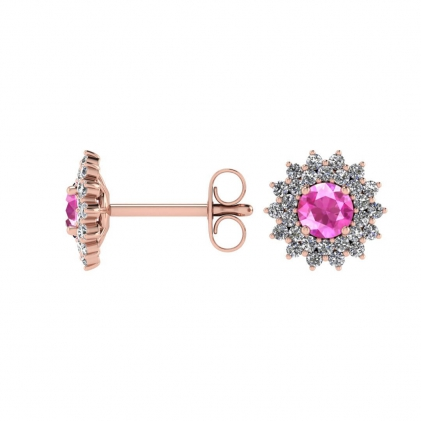 14k Rose Gold Pink Sapphire and Diamond Star Halo Earrings (1/2 CT. TW.)