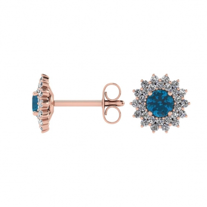 14k Rose Gold Blue Topaz and Diamond Star Halo Earrings (1/2 CT. TW.)