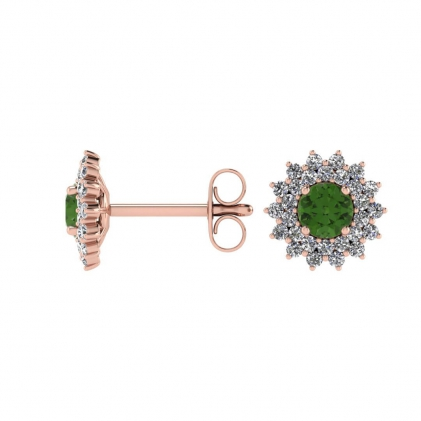 14k Rose Gold Green Tourmaline and Diamond Star Halo Earrings (1/2 CT. TW.)