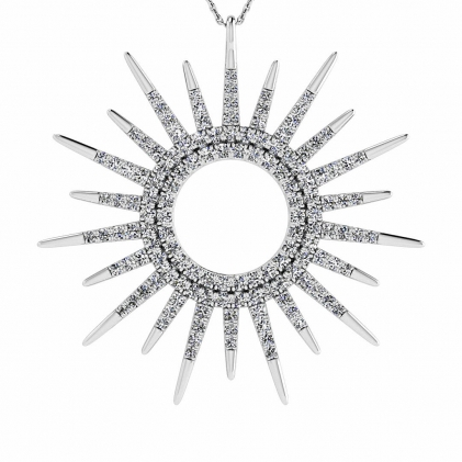 14k White Gold Zelia Micro Paved Sun Diamond Pendant (3/4 CT. TW.)