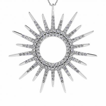 14k White Gold Zelia Micro Paved Sun Diamond Pendant (3/4 CT. TW.)