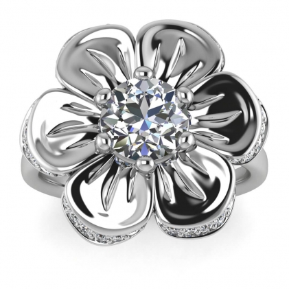 14k White Gold Cantata Diamond Flower Ring (1/5 CT. TW.)