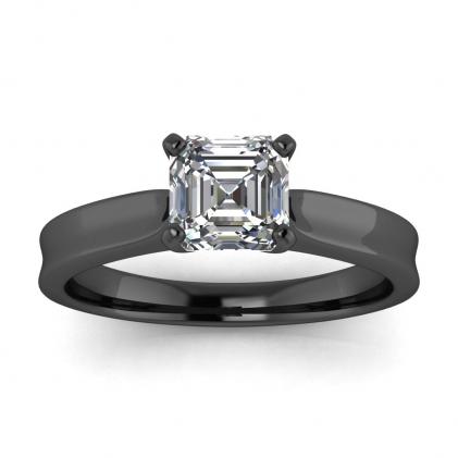 14k Black Gold Atlas Asscher Cut Diamond Contemporary Engagement Ring