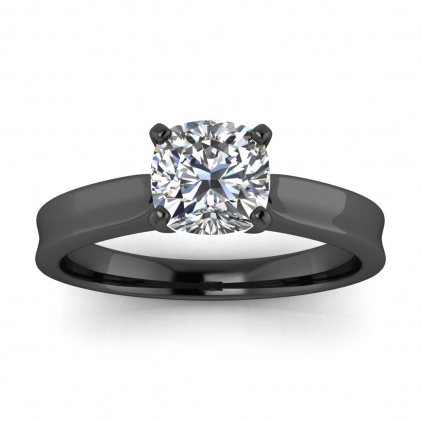 14k Black Gold Atlas Cushion Cut Diamond Contemporary Engagement Ring