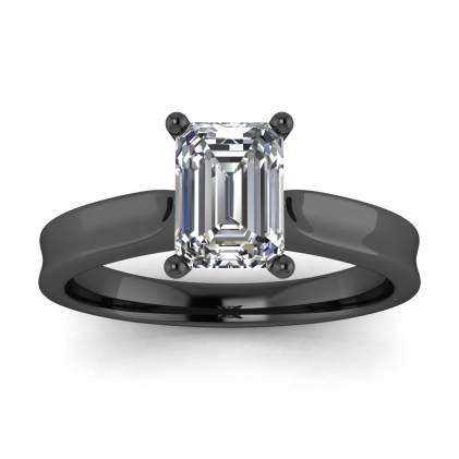14k Black Gold Atlas Emerald Cut Diamond Contemporary Engagement Ring
