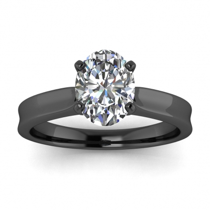 14k Black Gold Atlas Oval Diamond Contemporary Engagement Ring
