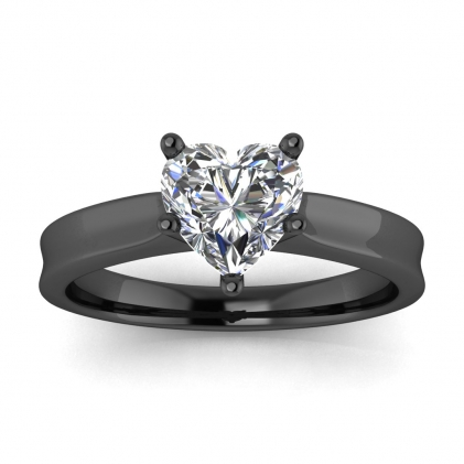 14k Black Gold Atlas Heart Shaped Diamond Contemporary Engagement Ring