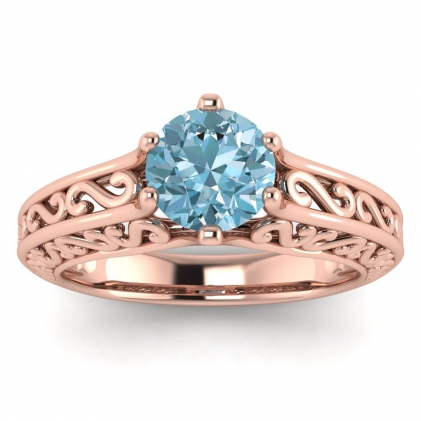 14k Rose Gold Roux Aquamarine Unique Solitaire Ring