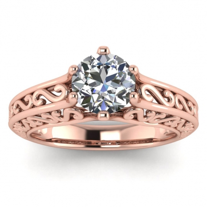 14k Rose Gold Roux Unique Solitaire Ring