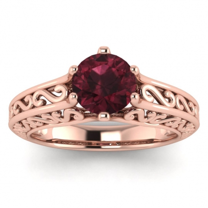 14k Rose Gold Roux Garnet Unique Solitaire Ring