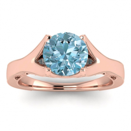 14k Rose Gold Shiny Nova Aquamarine Milgrained Engagement Ring
