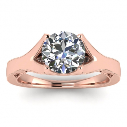 14k Rose Gold Shiny Nova Milgrained Engagement Ring