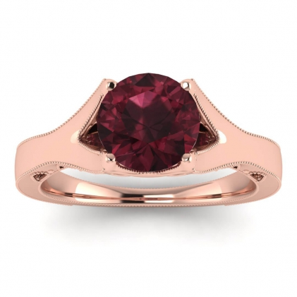 14k Rose Gold Shiny Nova Garnet Milgrained Engagement Ring