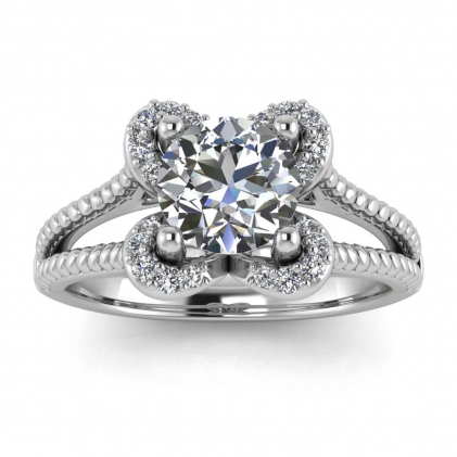14k White Gold Flower Diamond Engagement Ring (1/7 CT. TW.)