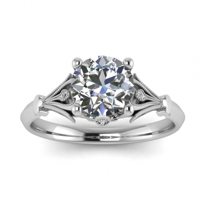 14k White Gold Galette Diamond Vintage Inspired Ring