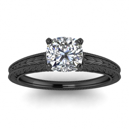 14k Black Gold Avery Cushion Cut Diamond Hand Engraved Solitaire Ring