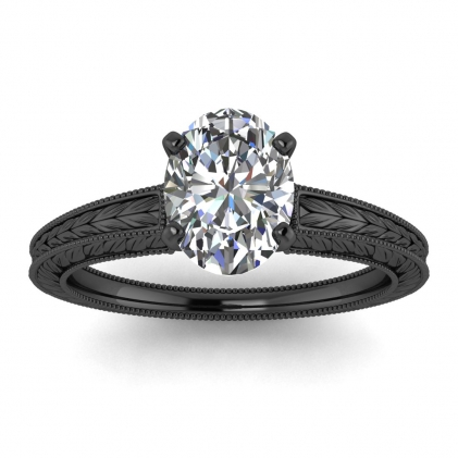 14k Black Gold Avery Oval Diamond Hand Engraved Solitaire Ring