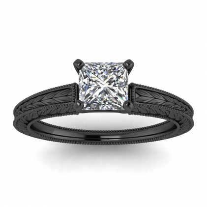 14k Black Gold Avery Princess Cut Diamond Hand Engraved Solitaire Ring