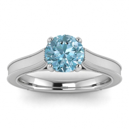 14k White Gold Addison Aquamarine and Diamond Vintage Engagement Ring (1/9 CT. TW.)