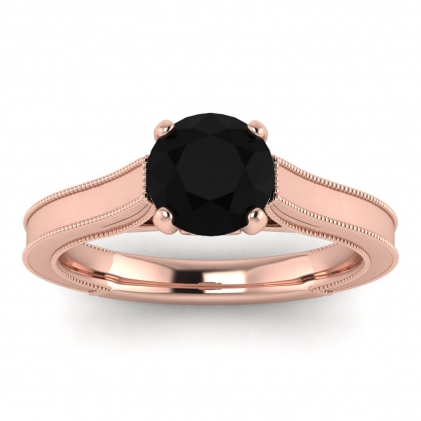 14k Rose Gold Addison Black Diamond and Diamond Vintage Engagement Ring (1/9 CT. TW.)