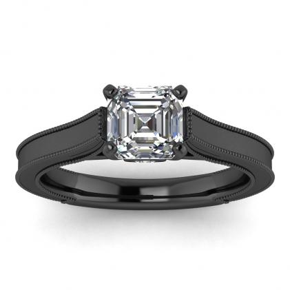 14k Black Gold Addison Asscher Cut Diamond Vintage Engagement Ring (1/9 CT. TW.)