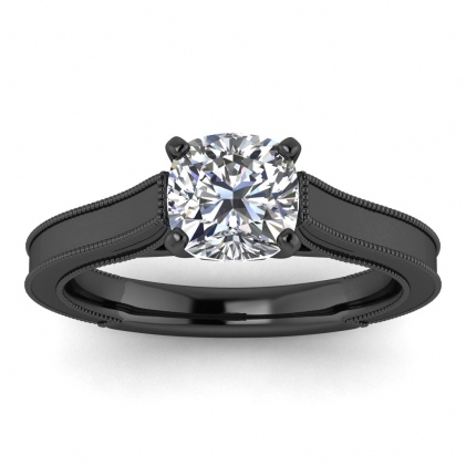 14k Black Gold Addison Cushion Cut Diamond Vintage Engagement Ring (1/9 CT. TW.)