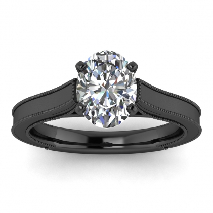 14k Black Gold Addison Oval Diamond Vintage Engagement Ring (1/9 CT. TW.)