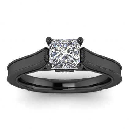 14k Black Gold Addison Princess Cut Diamond Vintage Engagement Ring (1/9 CT. TW.)