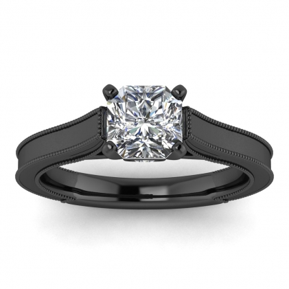 14k Black Gold Addison Radiant Cut Diamond Vintage Engagement Ring (1/9 CT. TW.)
