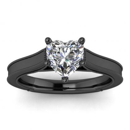 14k Black Gold Addison Heart Shaped Diamond Vintage Engagement Ring (1/9 CT. TW.)