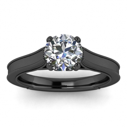 14k Black Gold Addison Diamond Vintage Engagement Ring (1/9 CT. TW.)