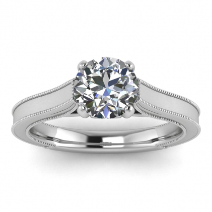 14k White Gold Addison Diamond Vintage Engagement Ring (1/9 CT. TW.)