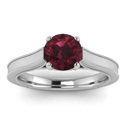 14k White Gold Addison Garnet and Diamond Vintage Engagement Ring (1/9 CT. TW.)