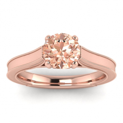 14k Rose Gold Addison Morganite and Diamond Vintage Engagement Ring (1/9 CT. TW.)