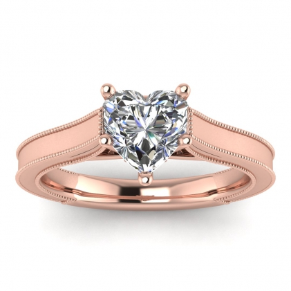 14k Rose Gold Addison Heart Shaped Diamond Vintage Engagement Ring (1/9 CT. TW.)