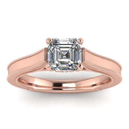 14k Rose Gold Addison Asscher Cut Diamond Vintage Engagement Ring (1/9 CT. TW.)