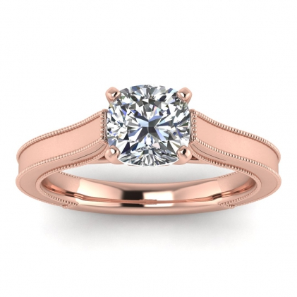 14k Rose Gold Addison Cushion Cut Diamond Vintage Engagement Ring (1/9 CT. TW.)