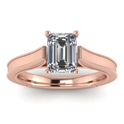 14k Rose Gold Addison Emerald Cut Diamond Vintage Engagement Ring (1/9 CT. TW.)