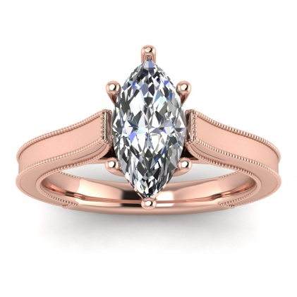 14k Rose Gold Addison Marquise Diamond Vintage Engagement Ring (1/9 CT. TW.)