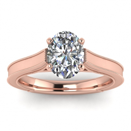 14k Rose Gold Addison Oval Diamond Vintage Engagement Ring (1/9 CT. TW.)