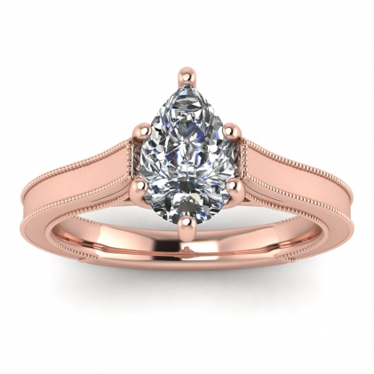 14k Rose Gold Addison Pear Shaped Diamond Vintage Engagement Ring (1/9 CT. TW.)
